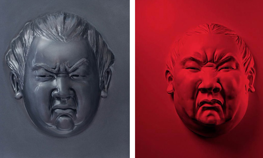 Alexandra Gestin - Little Face, Black, 2015 (Left) / Little Face, Red, 2015 (Right)