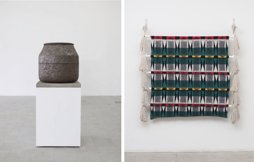 Alexandre da Cunha - Full Catastrophe (Drum X), 2012 (Left) - Navajo 1, 2014 (Right). Photo credits Galeria Luisa Strina