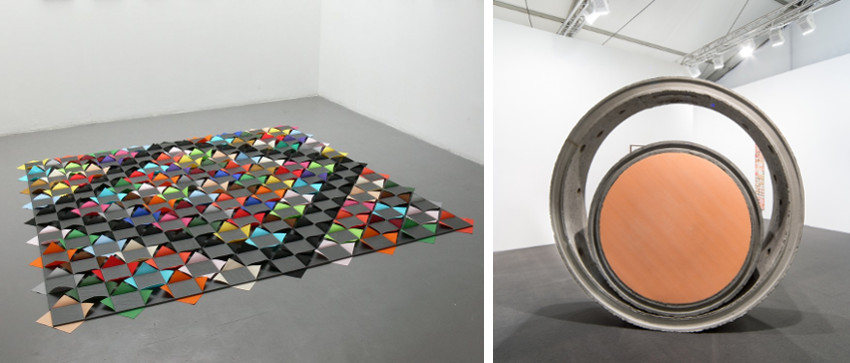 Alexandre da Cunha - Quilt, 2010 (Left) - Public Sculpture (pouff 6), 2014 (Right). Photo credits Thomas Dane Gallery, concrete brazilian arts in 2016