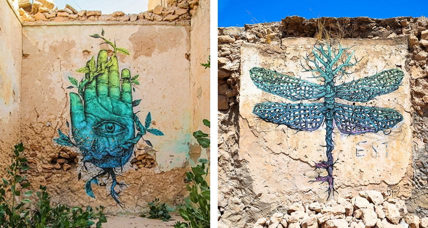 Alexis Diaz - Your hands build what your soul looks (left), Adaptation (right) - Erriadh, Tunisia, 2014