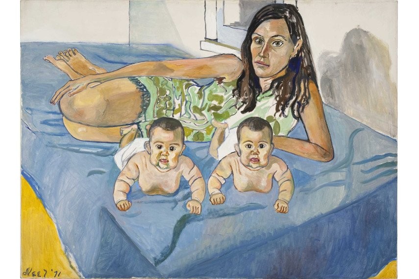 Alice Neel - Nancy and the Twins life, contact in harlem, search painted policy books in 1971