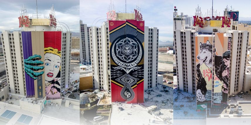 Murals by Shepard Fairey, D*Face and FAILE in Las vegas