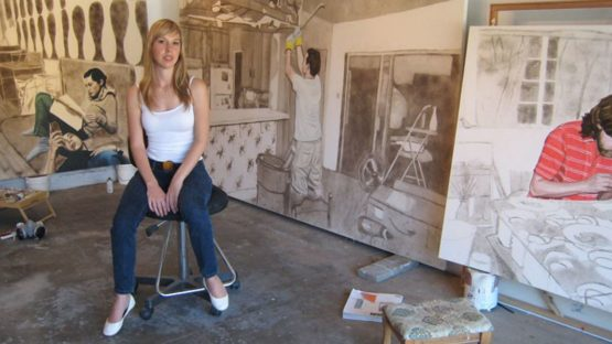 Allison Cortson in her studio, contemporary art, dust painting