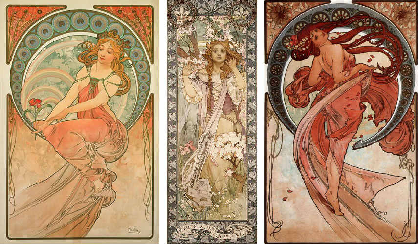 Alphonse Mucha - The Arts, Painting (Left) - Maud Adams as Joan of Arc, 1909 (Middle) - Dance, 1898 (Right), Image via wikipediaorg works print page home paintings