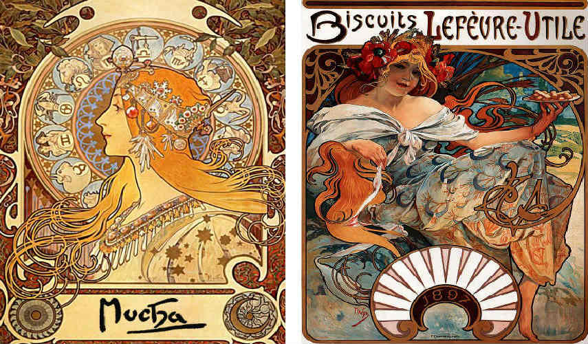 Alphonse Mucha - Zodiac (Left) - Biscuits Lefèvre Utile, 1897 (Right), Images via enwikipediaorg works print page home paintings alphonse mucha poster series museum