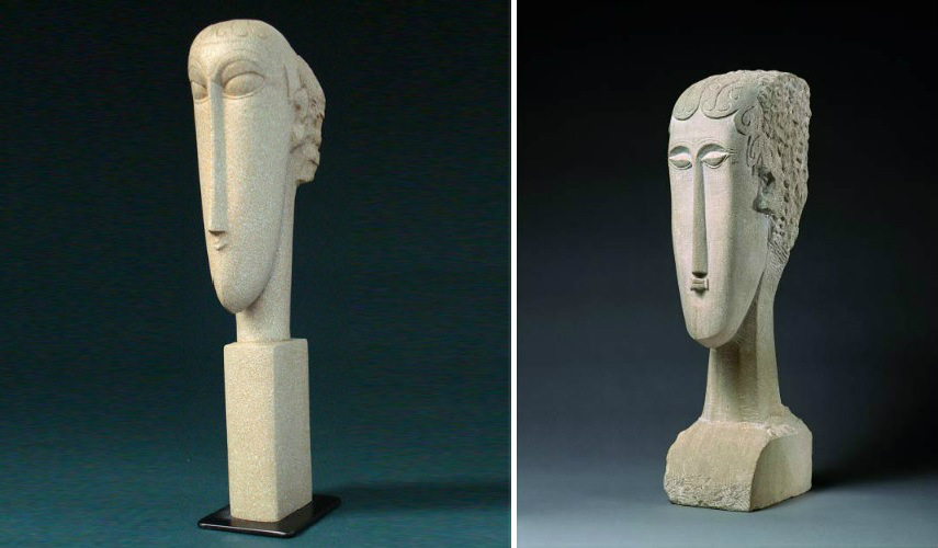 Amedeo Modigliani - Head (left) - Head of a Woman, 2012 (right),  photo credits artearti.net home italian page modigliani portrait nude works paul