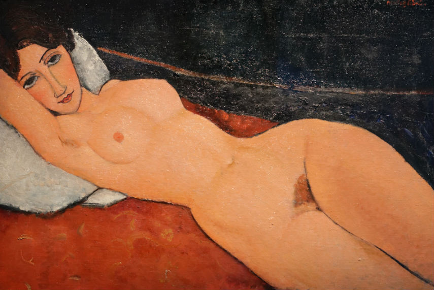 Amedeo Modigliani - Nude on a White Cushion, 1917, photo credits everypainterpaintshimself.com portrait nude works paul amedeo modigliani page