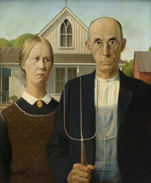 a farm couple in front of their home in Iowa - Grant Wood American Gothic