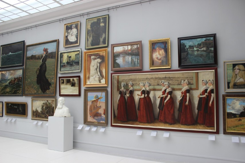 An art collection on display