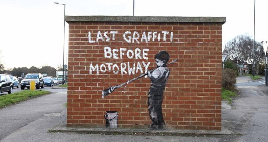 Banksy Stencil Appears at School Exhibition