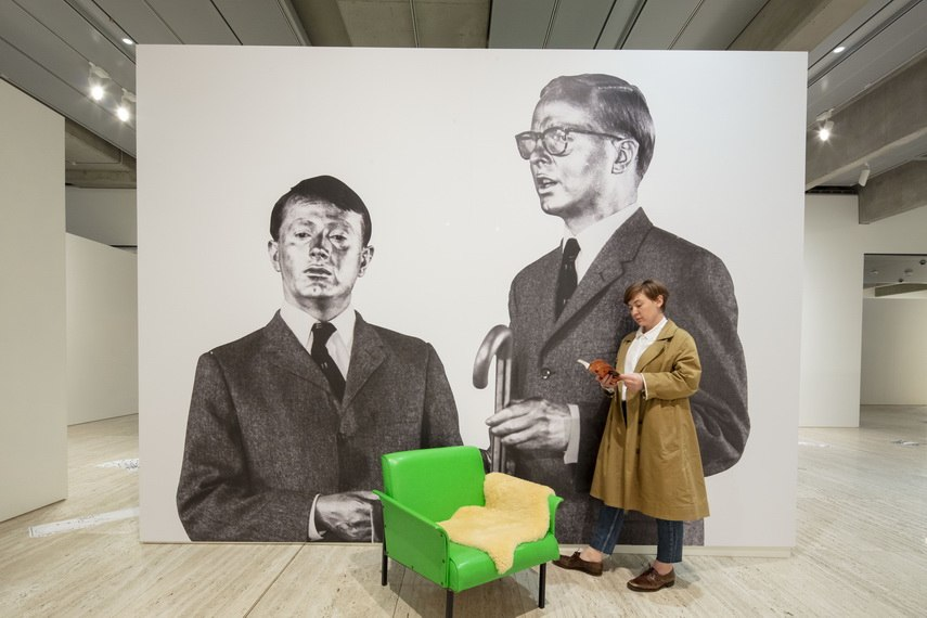 An installation view of Making art public by Gilbert and George