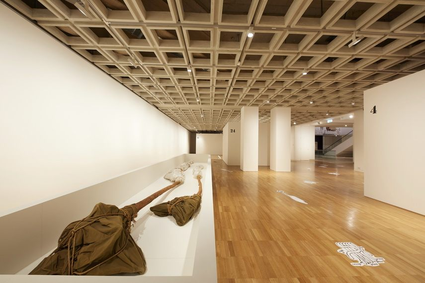 An installation view of the exhibition Making art public by Christo