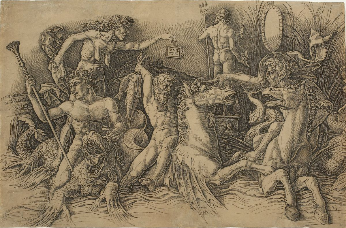 Andrea Mantegna, Battle of the Sea Gods (left side), c. 1485–88