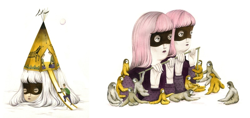 A.Wan illustrator - Temporary Habitat (left) and Slow Life (right), 2013 - link Copyright Andrea Wan