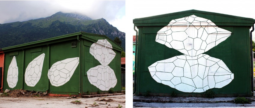 Andreco - Rise and Fall Clorofilla, Belluno, photo by Alice Bettolo (Left) / Rise and Fall - detail (Right) - public street art installation