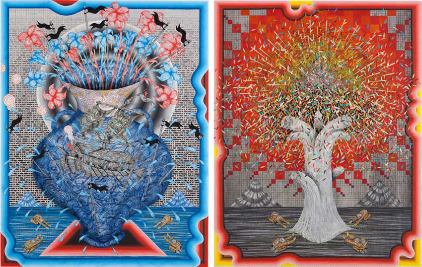 Andrew Schoultz new american angeles nature art project includes 2011 gold canvas paintings and collage