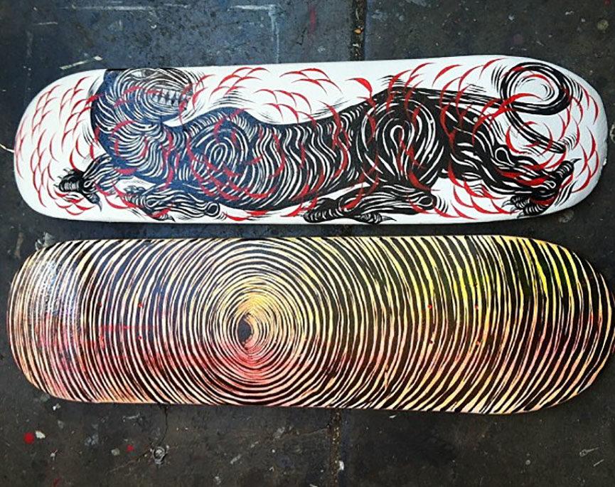 Street art skateboards