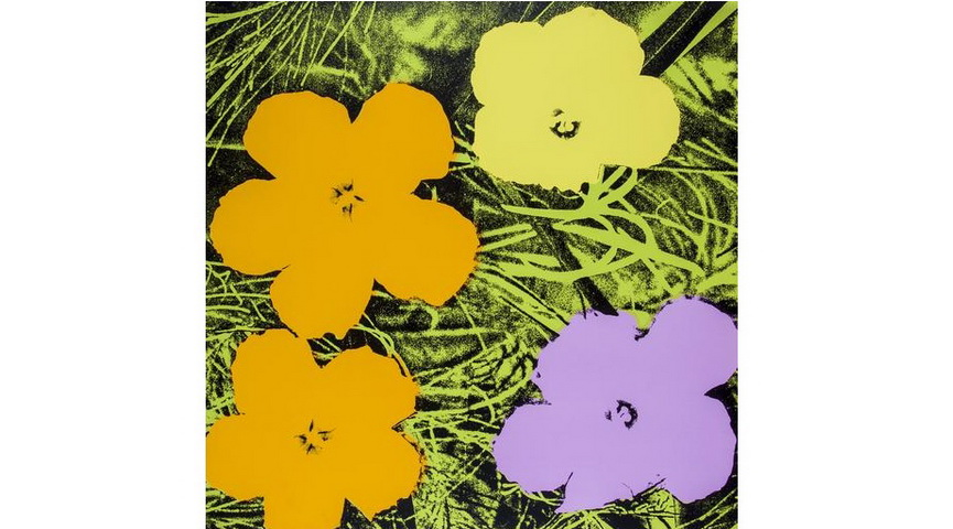 Andy Wahol slightly abstract representation of flowers with acrylic, watercolor and, silkscreen ink