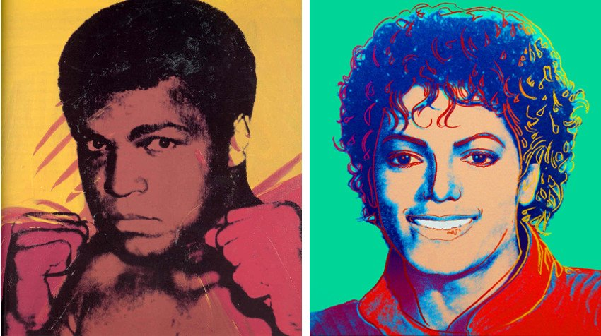 Andy Warhol  Muhammad Ali, 1975, photo via wikiart.org (Left) / Michael  Jackson (Green), 1984, photo via listal.com (Right)