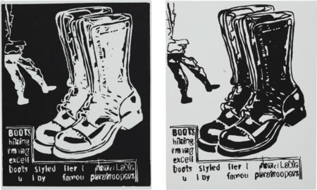 Andy Warhol-Paratrooper Boots: Positive and Negative (Diptych)-1986