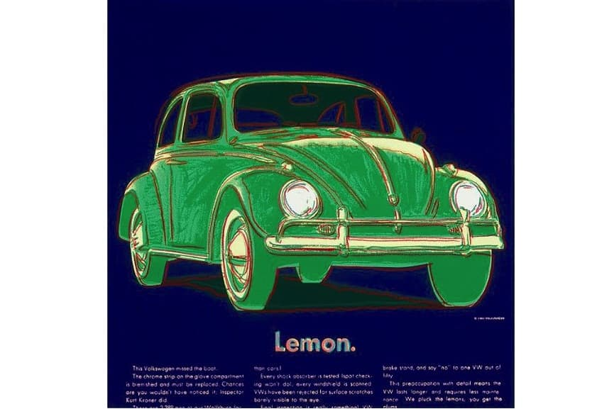 andy warhol's Volkswagen, 1985; from andy warhol's ads portfolio that combines ads with arts