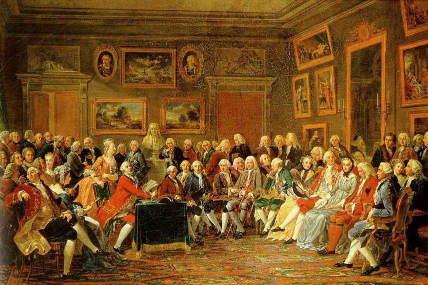 Anicet Jean Charles Gabriel Lemonnier - Madame Geoffrin`s salon architecture in 1755
