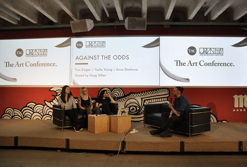 Anna Dimitrova, Tina Ziegler and Yasha Young at The Art Conference talk