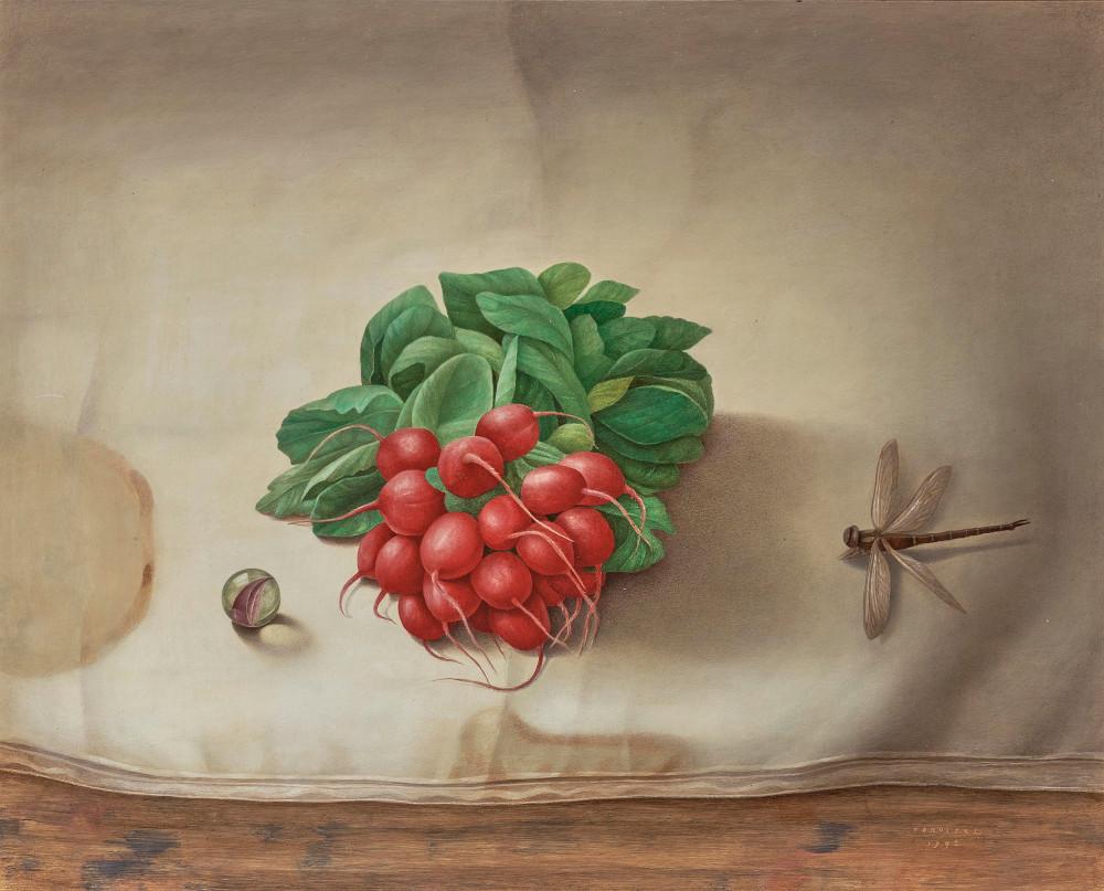Anneke Van Brussel - Stillleben Mit Radieschen Und Libelle (Still Life with Radishes and Dragonfly)-1992