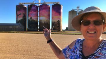 Annette Green in front of the work in Thallon