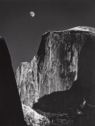Ansel Adams-Moon and Half Dome, Yosemite National Park, California-1960