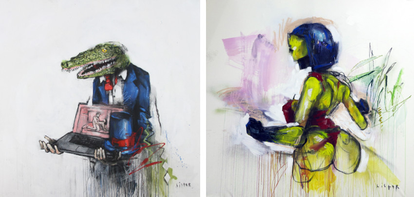 Anthony Lister - Mr. Prepared This Earlier, 2016 (Left) / Tight Grip, 2014 (Right) like close