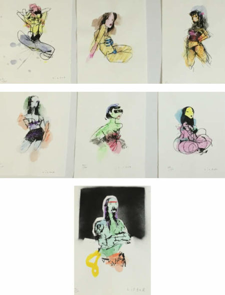Anthony Lister-Red Head; Lean Back Girl; Frilly Fix; Blue Dancer; Masked Maiden; Stripper I; Boat Ramp Man-2014