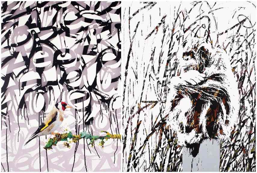 Left: Antoine Gamard - Bird on Flower Branch, 2015 / Right: Antoine Gamard - L'été Indien-Still Wild, 2016