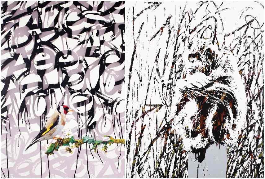 Left: Antoine Gamard - Bird on Flower Branch, 2015 / Right: Antoine Gamard - L'été Indien-Still Wild, 2016