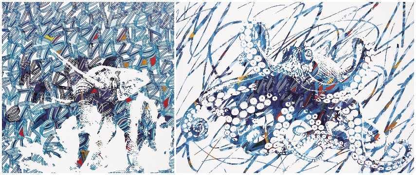 Left: Antoine Gamard - Un Elephant Ivre, 2016 / Right: Antoine Gamard Octopus, 2016