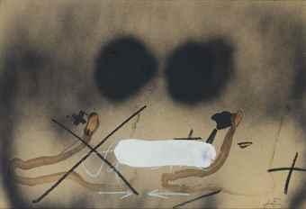 Antoni Tapies-Dues Taques Negres Sobre Marro-1982