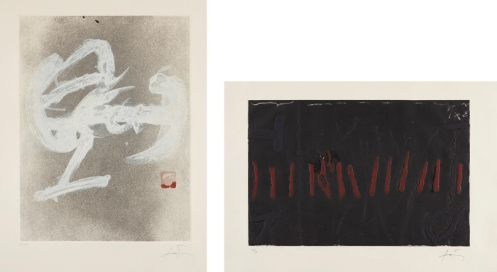 Antoni Tapies-Rattles Vermelles; and Calligraphie Blanche-1983