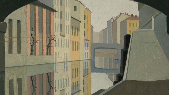 Antonio Calderara, Peso ottico giallo e grigio in rettangoli sovrapposti, 1960 (detail)