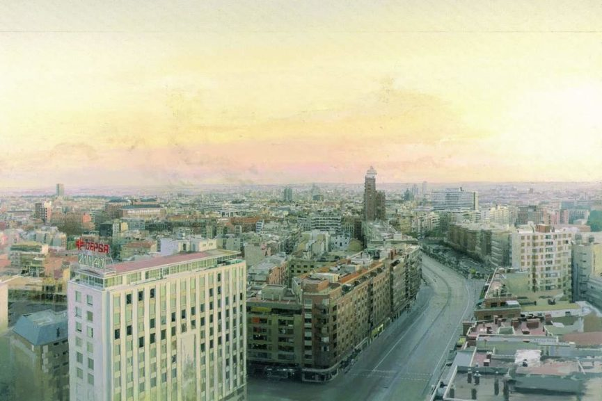 Antonio Lopez Garcia - View of Madrid from Torres Blancas, 1976-82, detail (courtesy of robertorosenman.com)