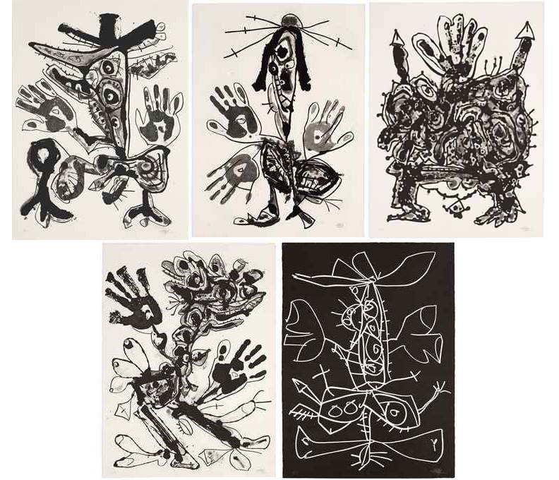 Antonio Saura-Novisaurias (The Complete Set of Five Aquatints)-1969