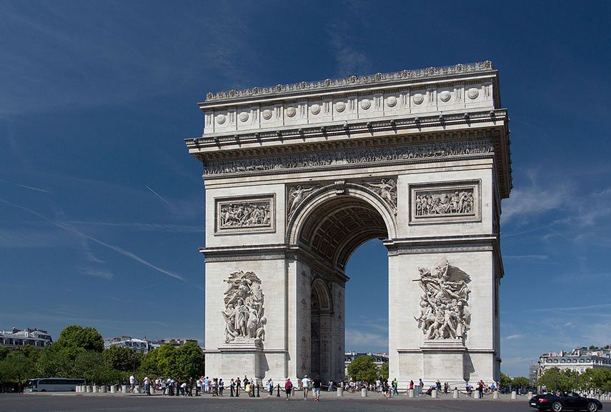 Arc de Triomphe is one of the landmarks of French architecture and France and the city of Paris in general