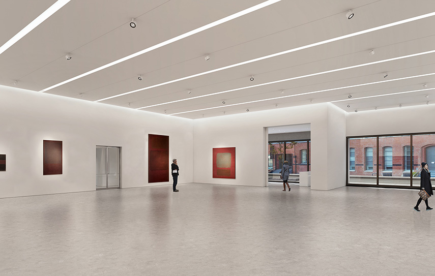 Architectural rendering of the ground floor gallery of 540 West 25th Street, New York