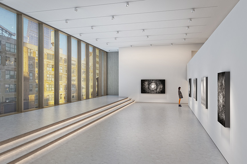 Architectural rendering of the seventh floor gallery of 540 West 25th Street, New York
