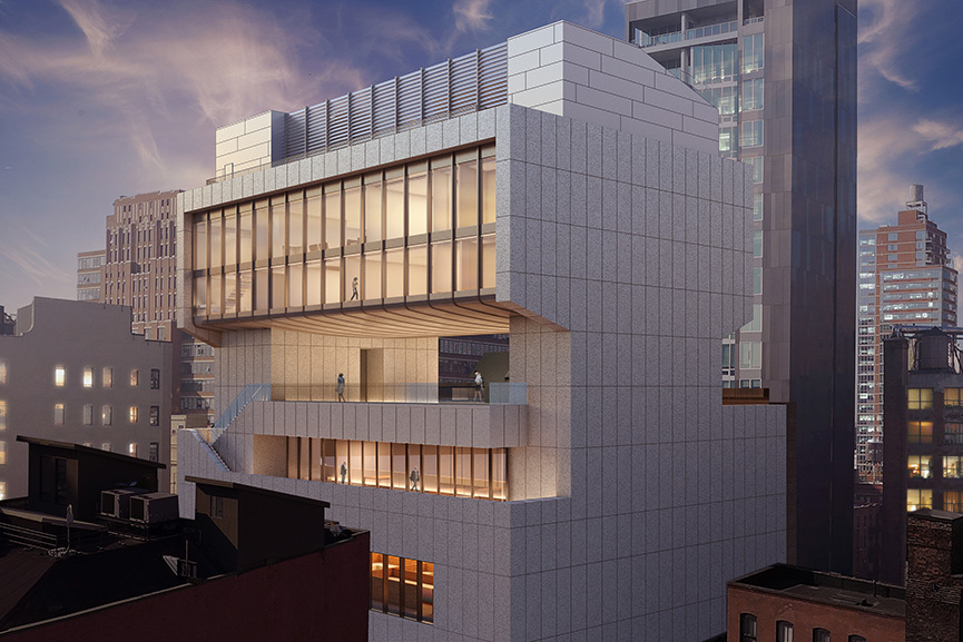 Architectural rendering of the southeast façade of 540 West 25th Street, New York