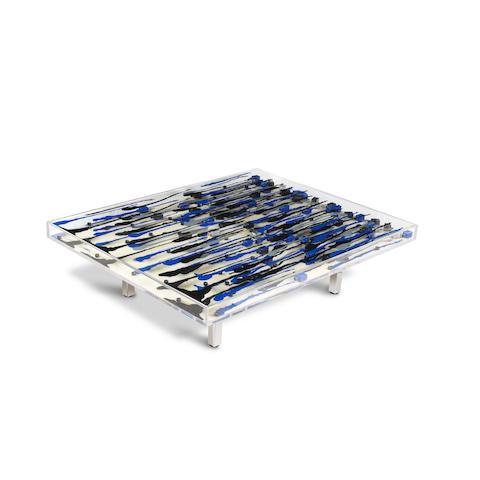 Arman-Table Avec Coulees Bleues et Noires-2002