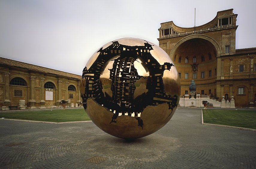 Arnaldo Pomodoro, Sphere within a Sphere (Museum of Vatican), 1990 - image via flickr.com