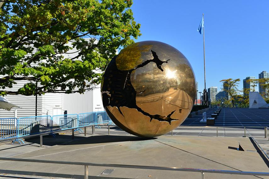 Arnaldo Pomodoro, Sphere within a Sphere (United Nations, NYC), 1996 - image via flickr.com policy privacy foundation