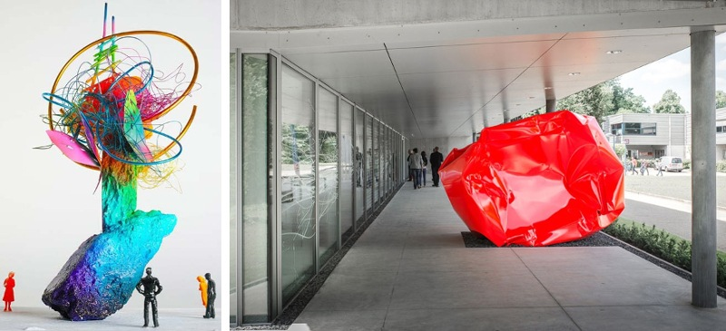 Arne Quinze - Rock Strangers in Shanghai (left) and in Antwerp (right), 2015 - Copyright Arne Quinze