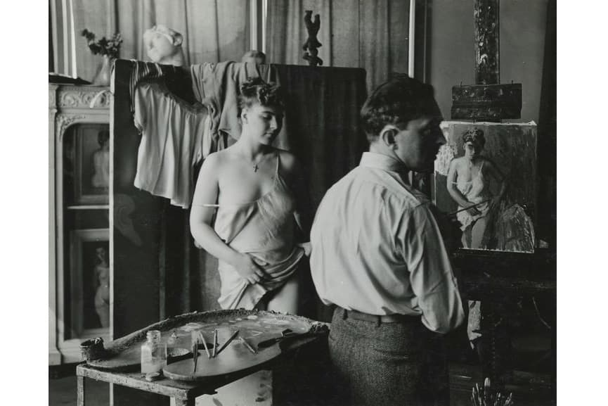 Moses Soyer and Model, 1942