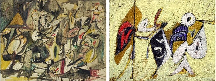 Arshile Gorky - The Leaf of the Artichoke Is an Owl , 1944  ------ Battle at Sunset with the God of Maize (in the American New York) - Images via pinterestcom and oceanbridgecom